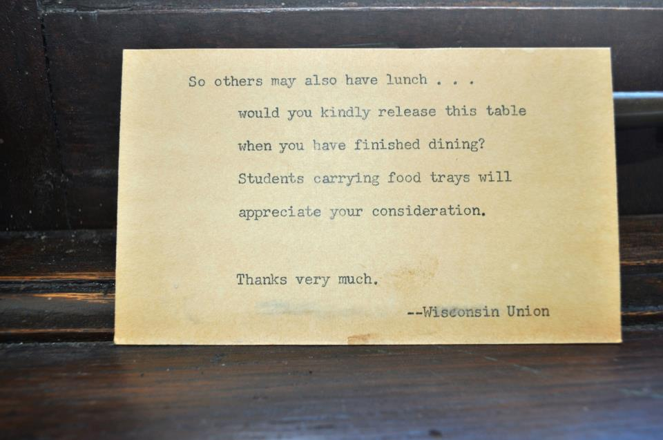 card from 1940s Paul Bunyan Room