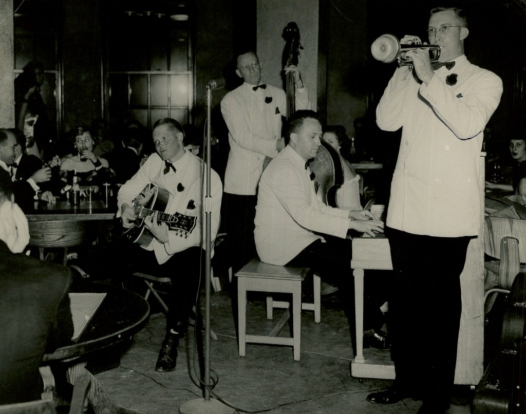 Feather Rhythm Four Combo plays in the Rathskeller during the Centennial Ball on October 9th, 1948 Photo by Bob Madigan