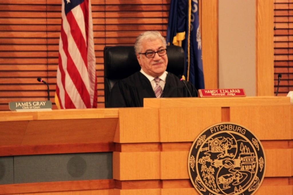Judge Ezalarab slips a smile during a Fitchburg Municipal Court hearing.