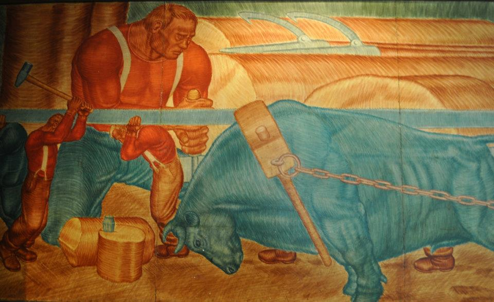 One of the multiple murals that will be put up in the Paul Bunyan Room after construction