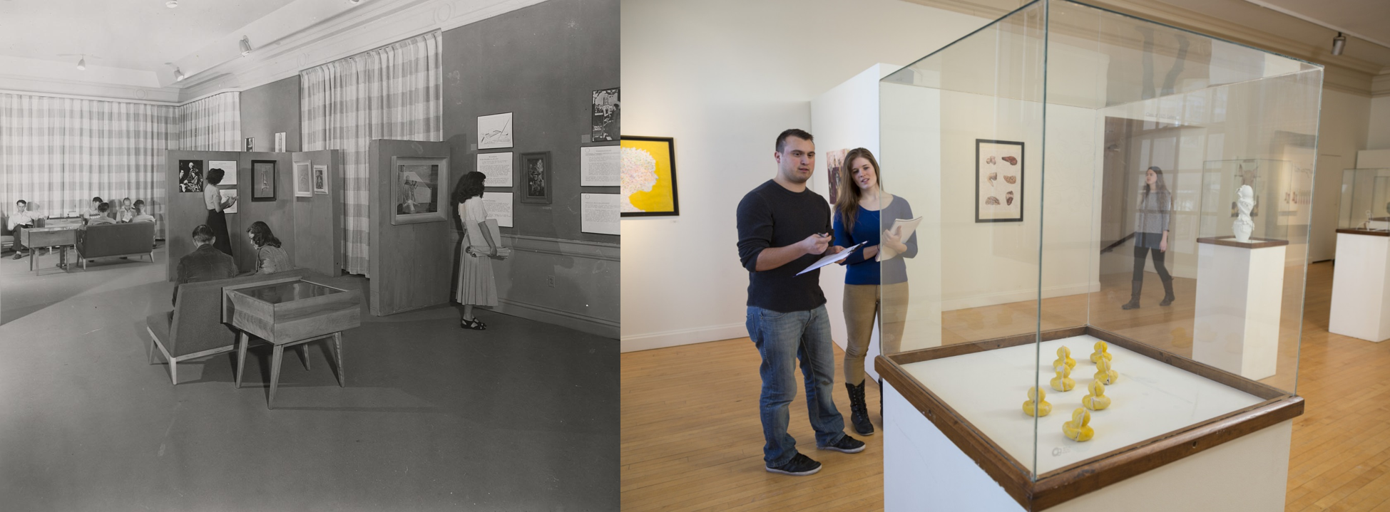 Left: Students wander through the Memorial Union art gallery circa 1950. Right: Students avoid a blustery fall day with a stroll through the Memorial Union art gallery.