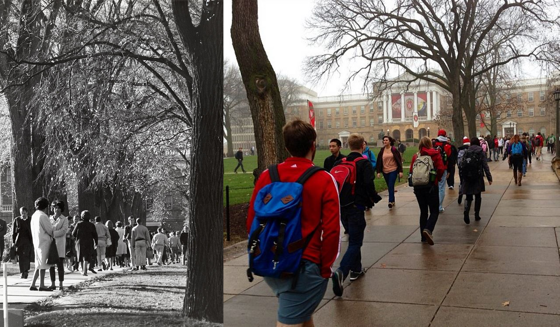Left: Crowds of students make the trek up Bascom Hill circa 1960. Right: Bascom is just as steep as it was 50 years ago as students reach the summit.