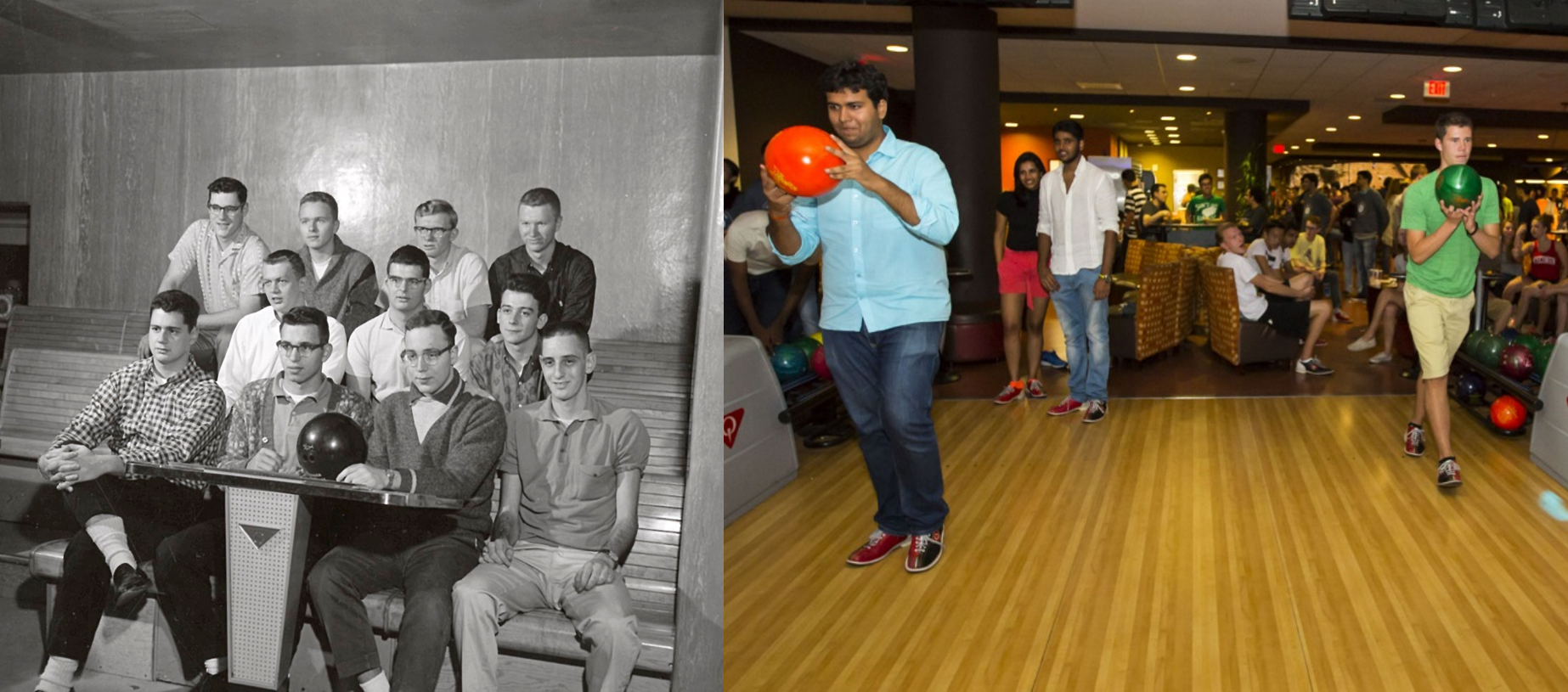 Left: Students don't spare a minute to roll strikes at a local bowling alley circa 1950. Right: Students don't have to walk far to bowl on campus nowadays: Just visit the bowling alley in Union South.