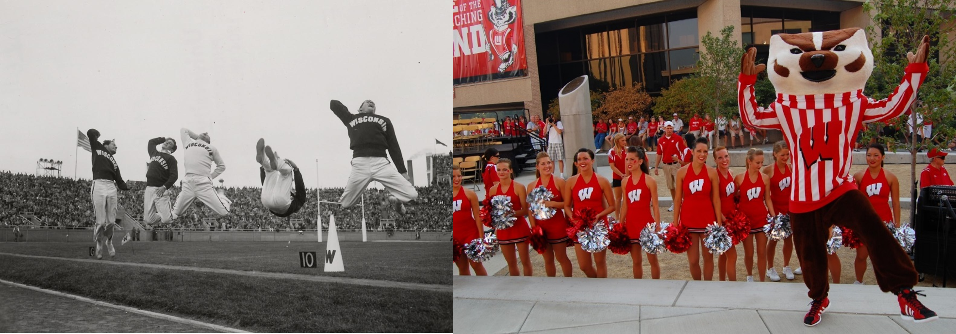 Left: 1950s cheerleaders bend over backwards to cheer on the Badgers football team. Right: Bucky joins in on a cheer with cheerleaders at a Badger Bash at Union South.