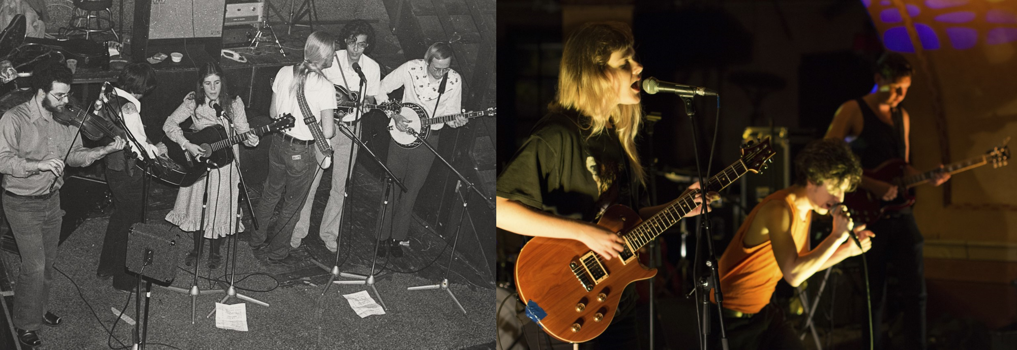 Left: A band performs at The Church Key circa 1977 for a crowd. Right: A band plays for a WUD Music show to a group of students in der Rathskeller.