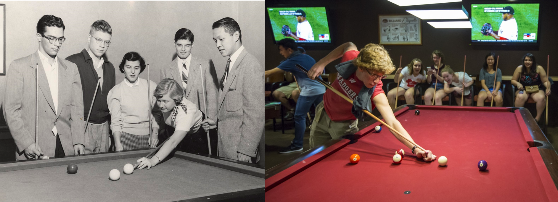 Left: Students relax with a game of pool circa 1945. Right: Students gather around the pool tables at Union South.