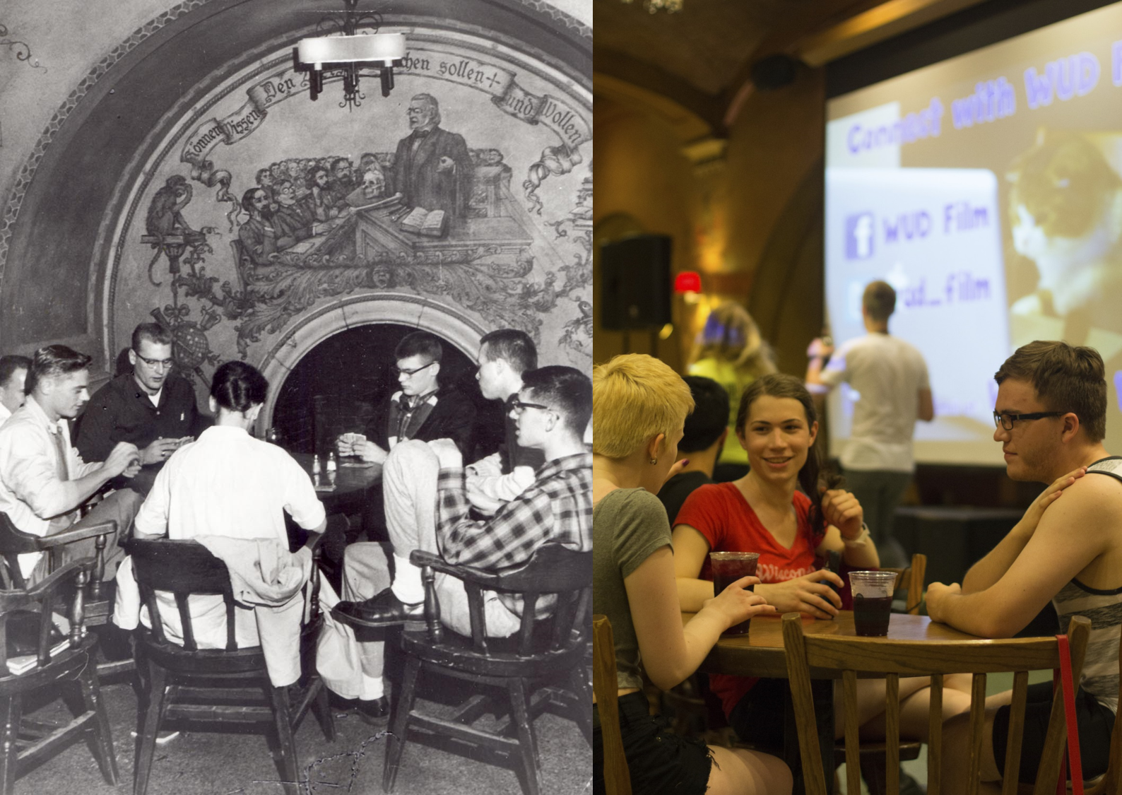 Left: Friends gather while playing cards at the Rathskeller circa 1965. Right: Students hangout in der Rathskeller.