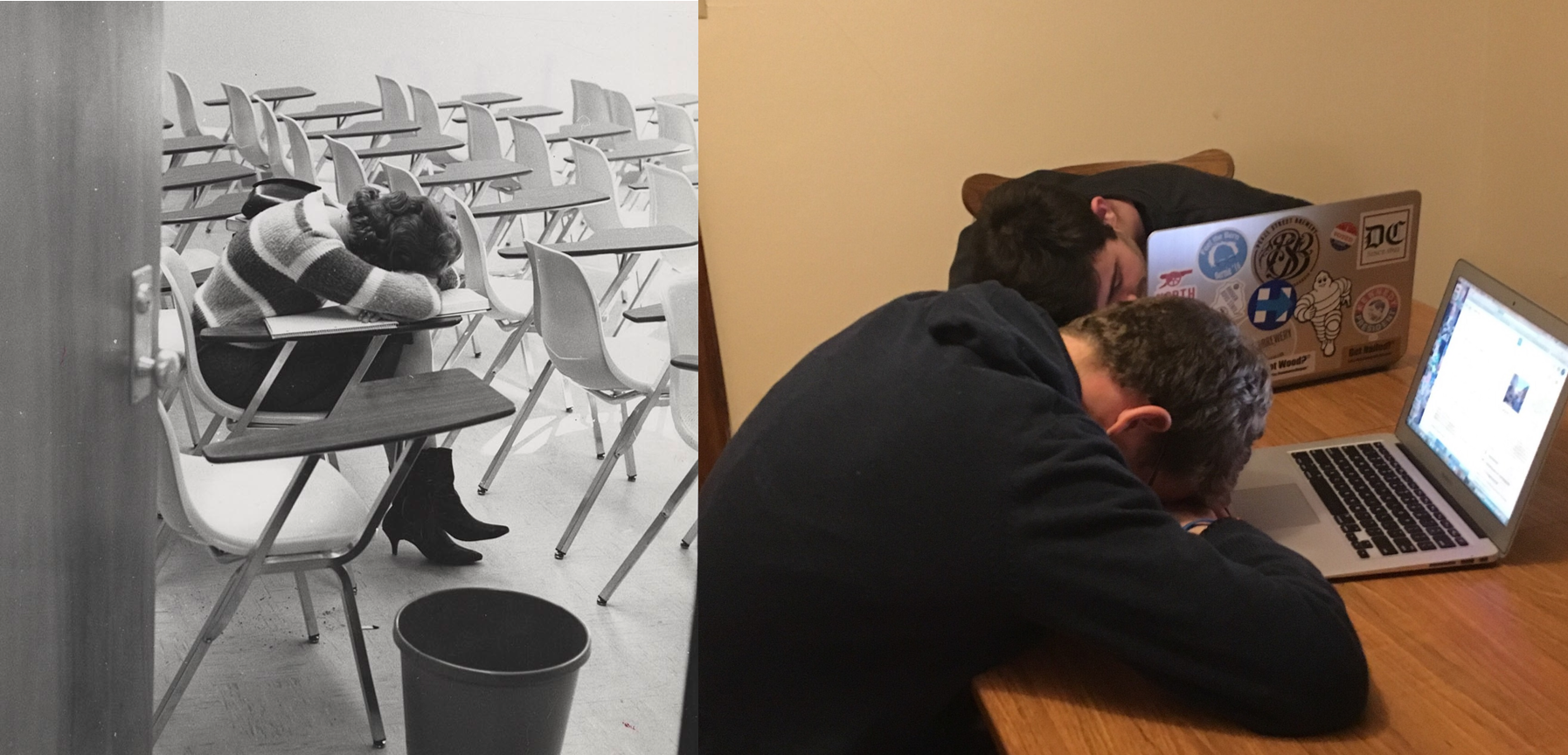 Left: A student rests in a classroom circa 1963. Right: With the end of midterms finally in sight, two students take a break from late-night studying.