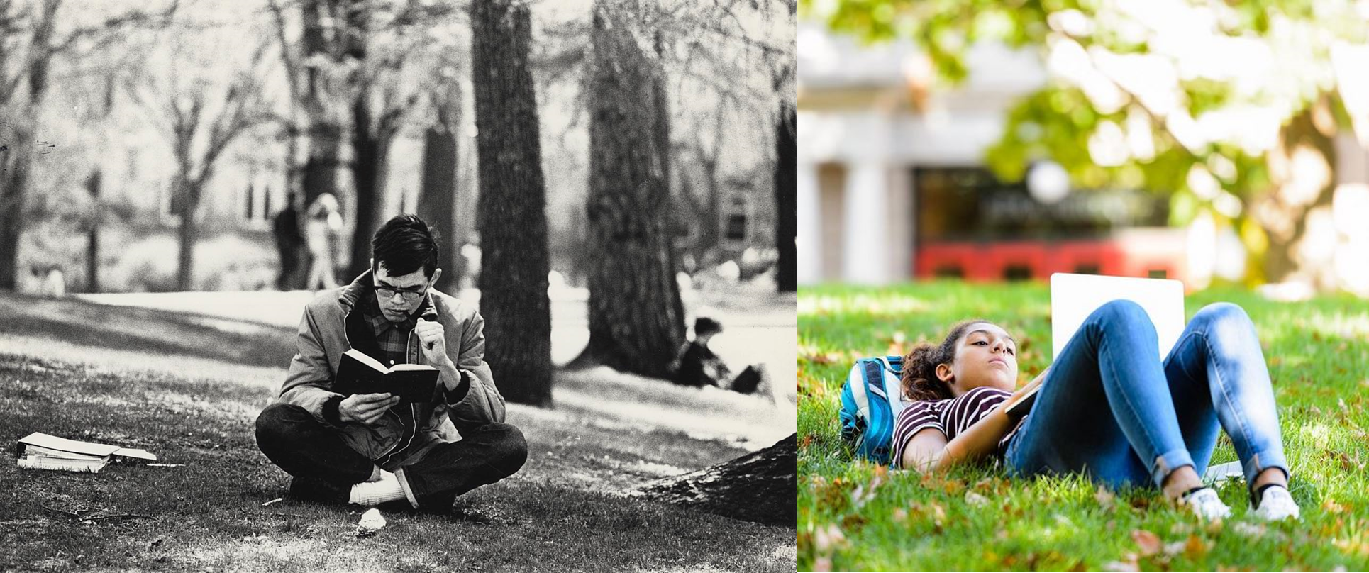 Left: A student takes advantage of a snowless Bascom Hill circa 1960 and studies for class. Right: Swapping out a laptop for a book, a student studies among leaves on Bascom Hill.