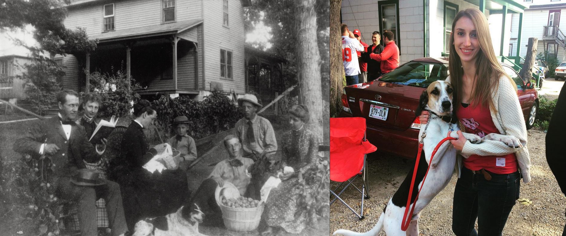 Left: Former history and Latin professor William F. Allen and family pose in the front yard of their home with their dog. Right: A modern-day Badger tailgates with her dog before a football game.