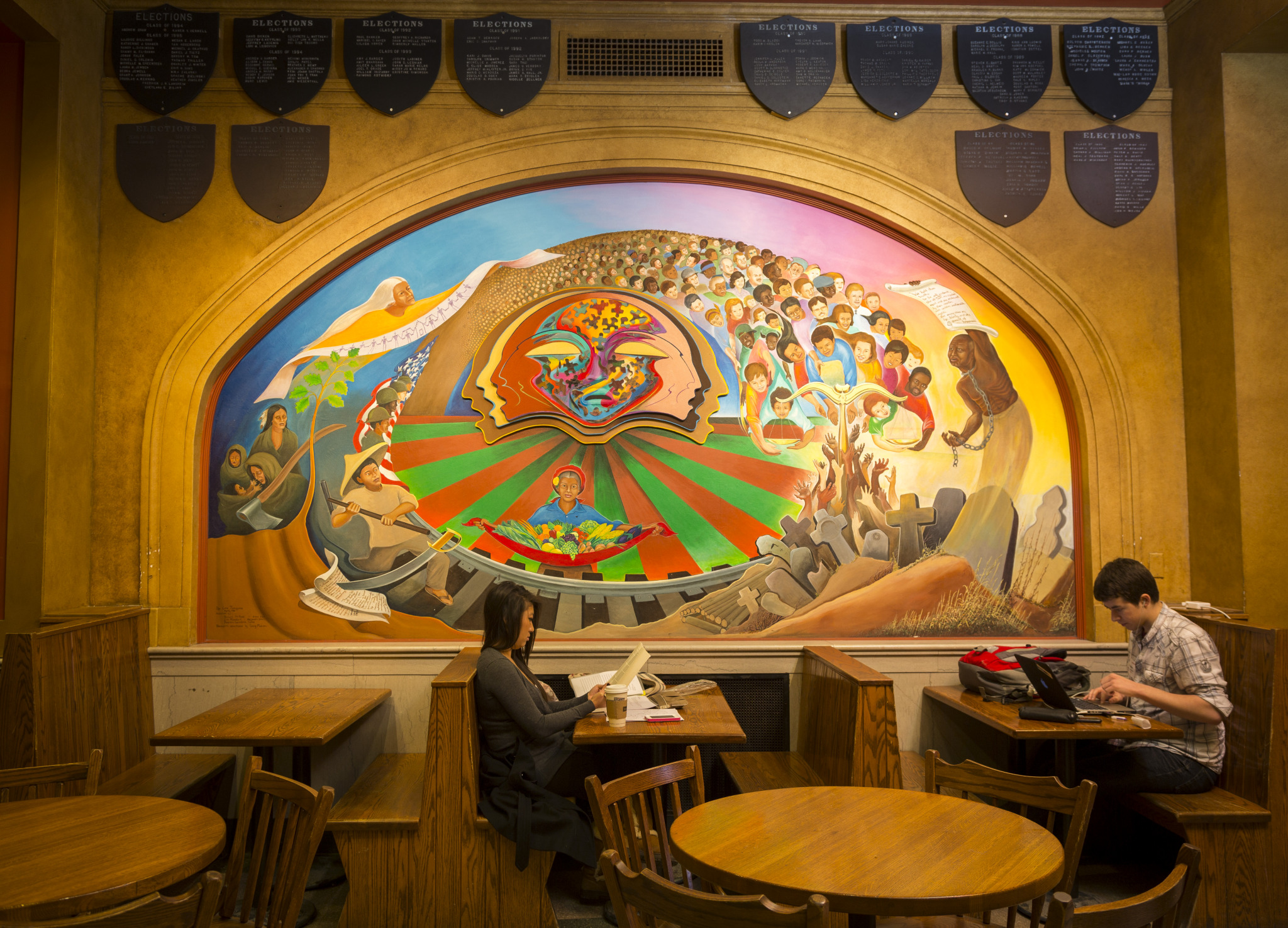 One of the murals in the Gekas Commons room of Memorial Union. Photo Courtesy of: Andy Manis