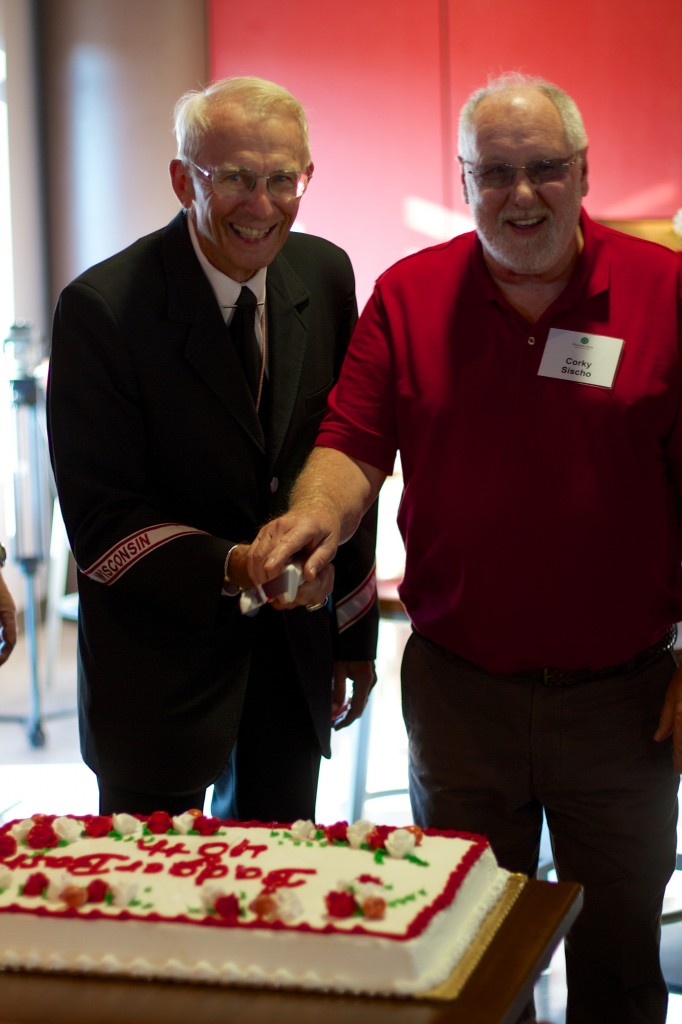 Mike Leckrone and Corky Sischo cutting 40th Anniversary Cake