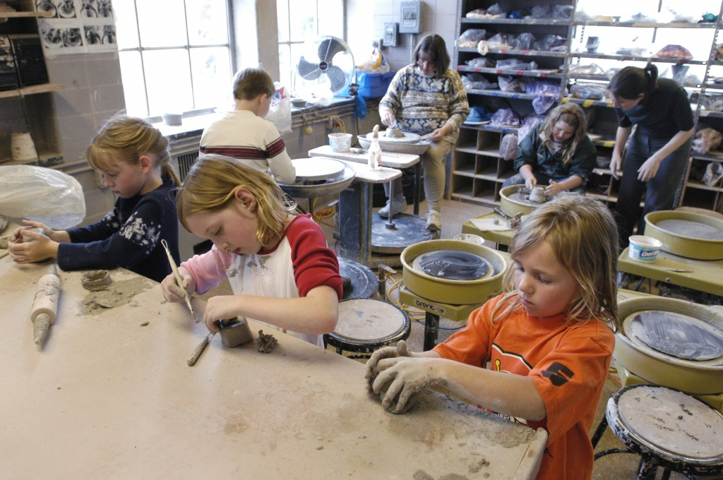 A pottery class hosted by the School of Education in the Craftshop in April, 2005.