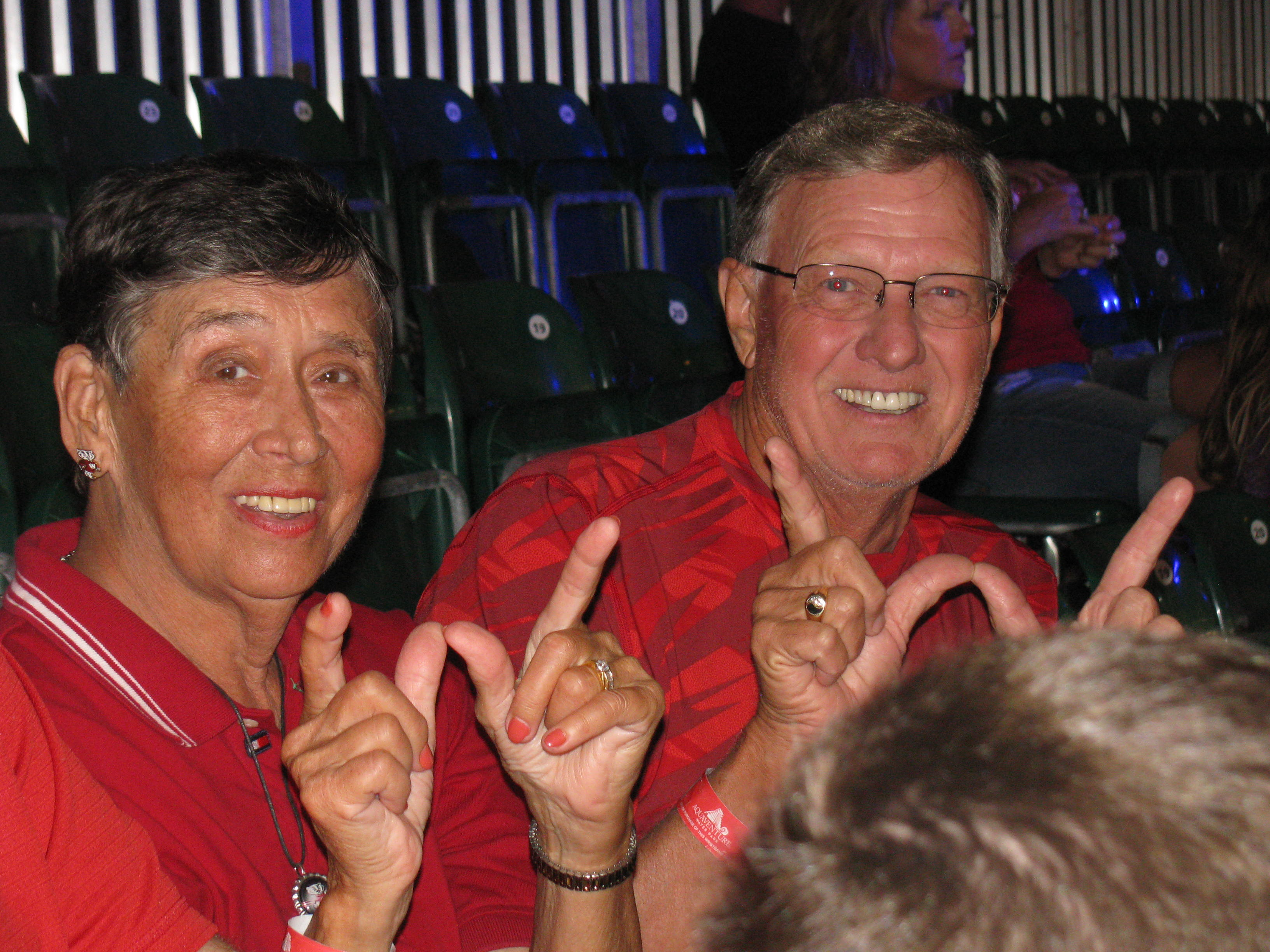 Daryl and Dawn Lund are seen smiling at the Battle 4 Atlantis basketball tournament in 2014. Photo Courtesy of Daryl Lund.